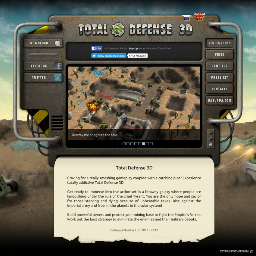 Website of mobile game Total Defense 3D